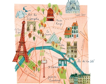 A3 Illustrated map of Paris