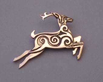 Leaping Stag Pendant in Bronze