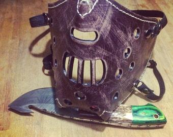 "Leather MasK ""killer bug"" [Hannibal] by SanDiegoChopper (antique Brown stitching leather Beige) chopper / cosplay / steampunk / harley"
