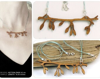 branch with berries, necklace with branch, laser cut jewelry, wooden chain, branch berries chain, necklace branch, wooden accessory