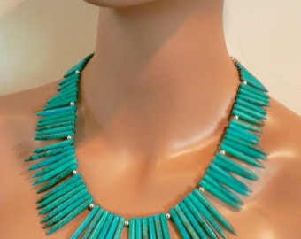 Turquoise Spiked Collar/Sterling Silver Spaces/Turquoise Silver Clasp/Statement Necklace/Bold/Dramatic/