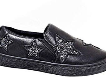Black Star Slip on Trainers