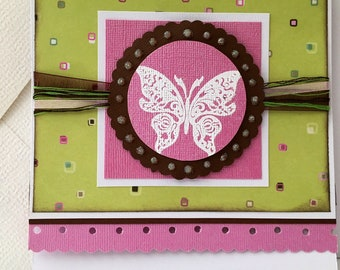 Birthday card, handmade card with butterfly, pink green brown birthday card