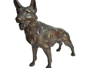 Metal Sculpture. German Shepherd. Fabulous Japanese Vintage Object. Dog. Canine.