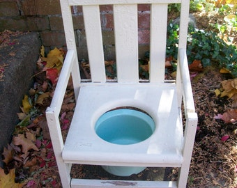 Vintage Potty Chair Shaker Style 1940's Lisk Turquoise Enamel Chamber Pot Child's Chair