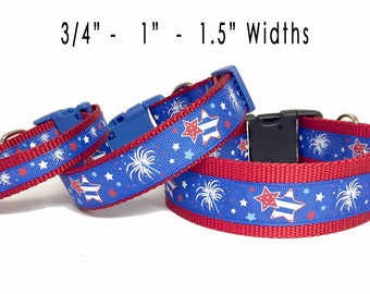 July 4th - Firework - Memorial Day - Dog Collar - USA - Pet - Gift - Summer - Bbq - Holiday - Puppy - Handmade -