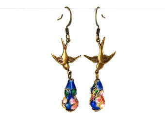 Neo Victorian Cloisonne Earrings with Swallows Antiqued Brass Blue by Nouveau Motley