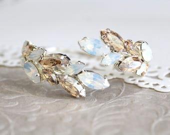 White opal bracelet, Bridal bracelet, Crystal bracelet, Bridal jewelry, Sterling silver bracelet, Swarovski bracelet, Champagne wedding