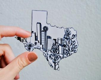 Dallas Sticker, Texas Sticker, State Sticker
