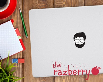 Bearded Computer Man MacBook Vinyl Sticker Decal Macbook Decal Vinyl Sticker Cover Macbook Pro Sticker Cover Hipster Beard Laptop Sticker