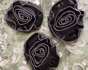 Black Net Rhinestone Rose Pins