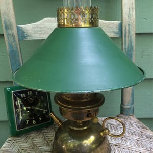 Vintage Green Metal Lamp,camp Style Lamp,ranch House Decor,rustic Farmhouse  Decor