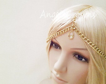 Bridal head piece Hair chain rose gold headpiece pink gold