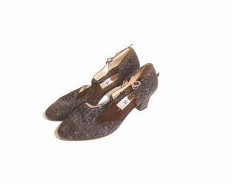 Vintage 1980s T Strap Glittery Sparkle Disco Low Heel Pumps size 6