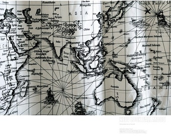 World map fabric etsy vintage world map linen cotton fabric voyage sailing ocean collection for home decor curtain quilting fabric gumiabroncs Choice Image