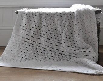 White Shell Lace Blanket - Instant Download PDF Crochet Pattern