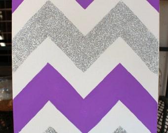 Purple and Glitter Chevron Canvas
