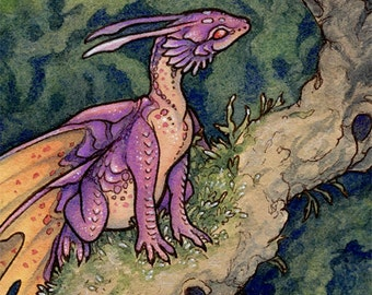 """Limited Edition Archival ACEO Print """"Pink Fairy"""" cute dragon fantasy nature art"""