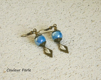 Earrings, ceramic beads, color blue Peacock effect gloss, silver leaf, Rhombus bronze