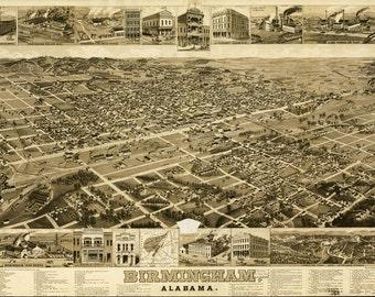 Vintage Map - Birmingham Alabama 1885