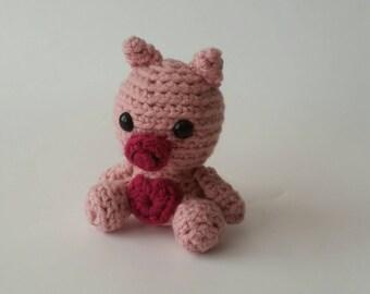 Mini Crochet Pig, Stuffed Animal Pig, Mini Plush Pig, Kid's Birthday Gift, Farm Animal Toy, Gifts under 30, Pig Amigurumi, Gift for Kids