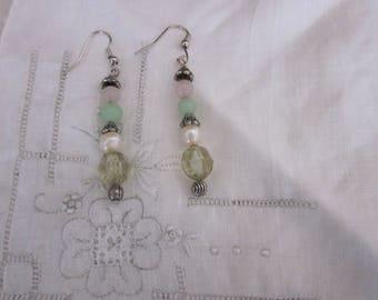 Vintage Hand Made Green Borealis, Pearl, Green & Pink Bead Pierced Earrings