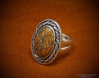 Cherokee Made Dinosaur Bone Sterling Silver Ring
