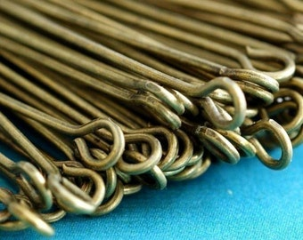 Nickel Free 100pcs 2inch Antique Brass Eye Pins 50mm