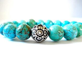 Magnetite Meditation Bracelet, Magnetite Beads, Hand Forged Silver, Beaded Bracelet