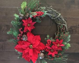 Winter Wreath, Winter Wreaths for Front Door, Holiday Door Wreath, Christmas Floral Wreath, Winter Door Wreath, Door Wreath