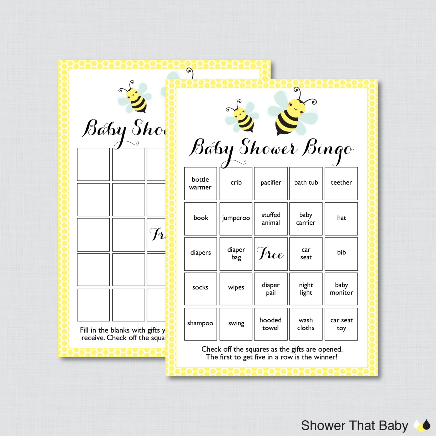 Bumble Bee Baby Shower Bingo Cards In Yellow Printable Blank