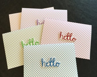 Hello Handmade Card, Thinking of You Card, Miss You Card, Polka Dots Background, Various Colors, Hello, Size A2 Card, SET of 5 Cards