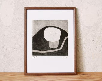 uncertain place 15 · original linocut on paper · handmade and signed · limited