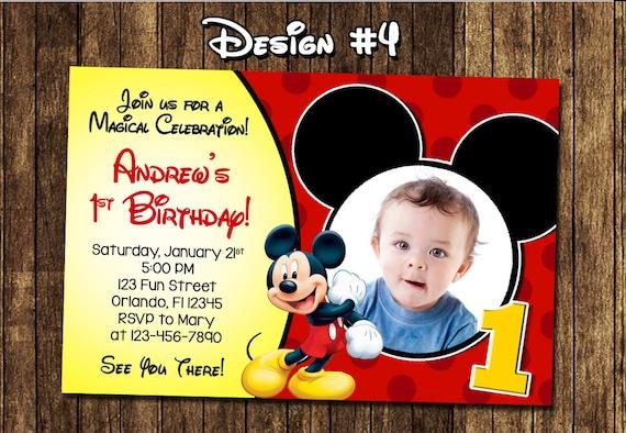 Molto Topolino Baby primo compleanno partito foto inviti NU89