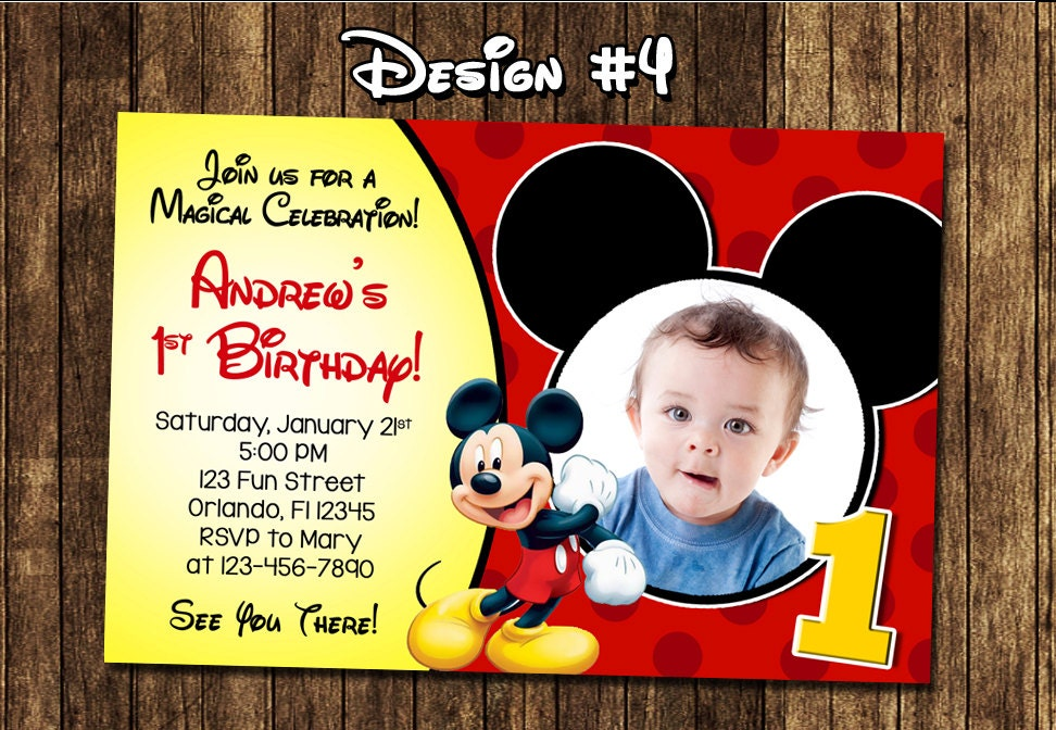Mickey Mouse Baby Boy 1 1st First Birthday Party Photo