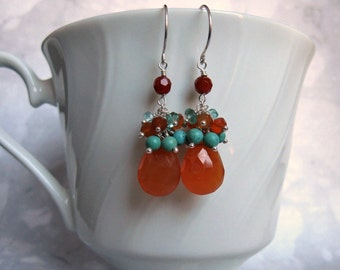 Carnelian Cluster Earrings- Turquoise, Apatite, Silver