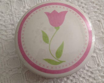 Tulip Trinket Box, FTDA Tulip Porcelain Trinket Box, Round Porcelain Box, Tulip Decor, Tulip Designs
