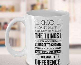 Serenity Prayer (Front) Progress, Not Perfection (Back) Mug Ceramic AA Coffee Cup Sobriety Gift Sponsor Gift Sponsee Gift Recovery Gifts