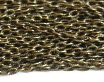 90 ft of Antiqued Brass finished  texture cable chain 3X5mm- unsoldered