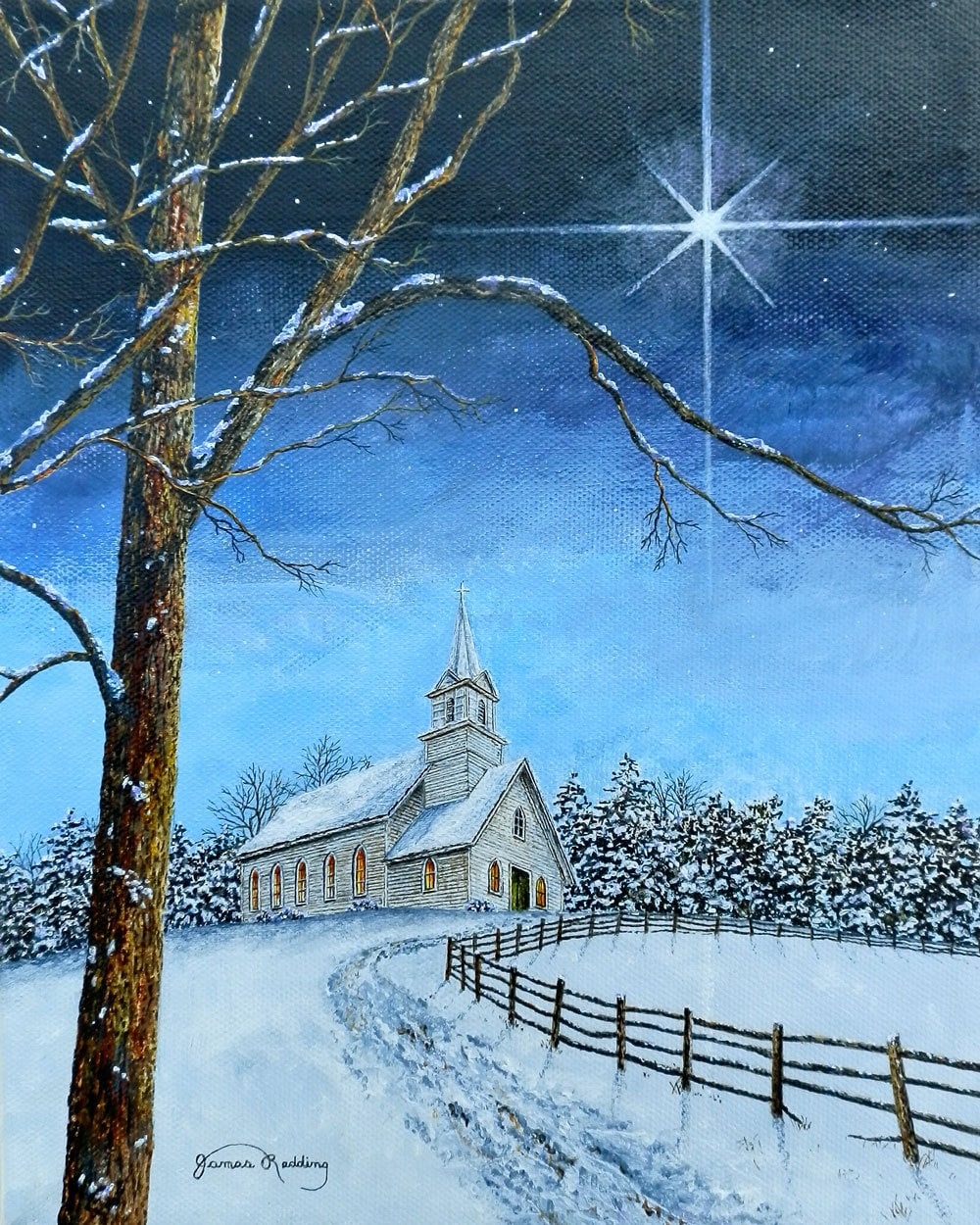 Star Painting Christmas Painting Church Painting Winter