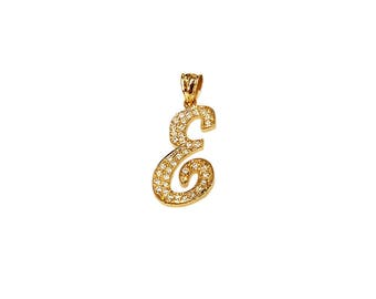 NP09d-10K Gold One Script Initial Name Pendant with Diamonds