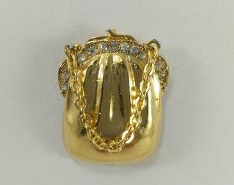 Purse brooch pin, handbag brooch, vintage brooch, gold tone and rhinestone brooch