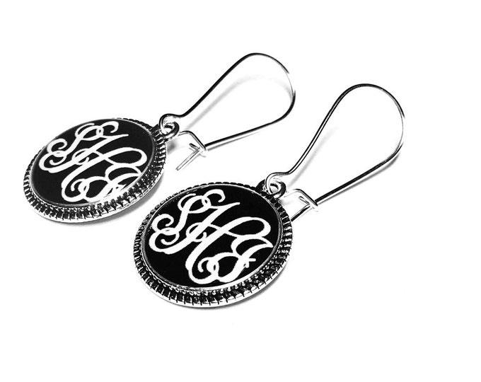 Personalized Monogram Custom Name Earrings, Dangle Earrings, Bridesmaids Gifts, Handmade Jewelry, Gift for Her, Custom Name Jewelry