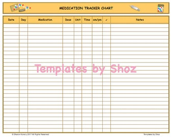 Medication Tracker Chart - Printable PDF File
