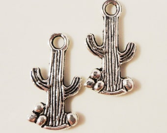 Silver Cactus Charms 18x10mm Antique Silver Cactus Pendants, Southwestern Charms, Desert Charms, Succulent Charms, Metal Charms, 10pcs
