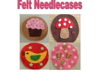Felt Sewing Pattern - PDF Email Pattern - Learn To Make Four Felt Needle Cases