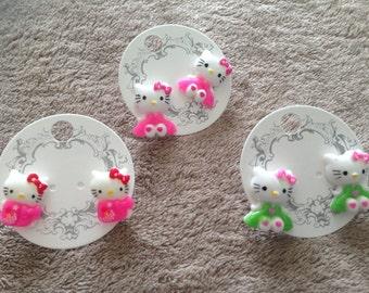 Cute Hello Kitty Stud Earrings - set of 3