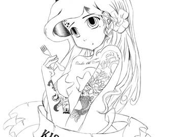 Page à colorier punk princesse Ariel