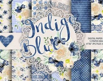 Watercolor Peony Indigo Blue flowers digital paper, Floral pattern, dots pattern, seamless pattern, Repeatable Digital Paper