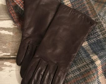 Leather Gloves * Driving Gloves * Brown Leather Gloves * Womens Gloves *  Winter Gloves * Flannel Lined * Isotoner